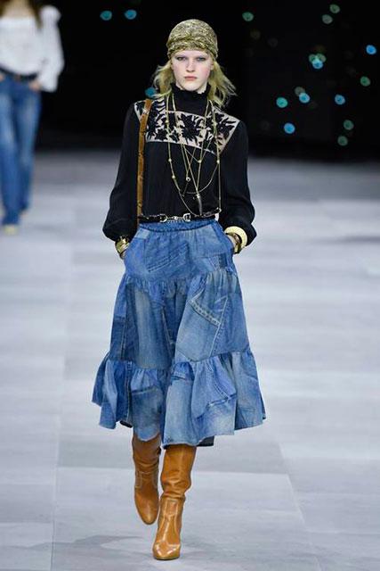 винтажную джинсовую юбку-миди с милой блузкой