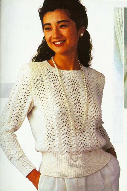 Белый пуловер павлиньим узором для женщин от японских дизайнеров