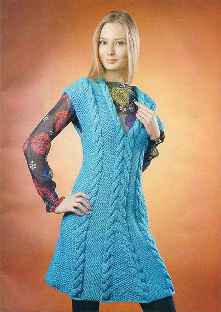 Платье с глубоким v-образным вырезом спереди без рукавов с крупным узором кос
