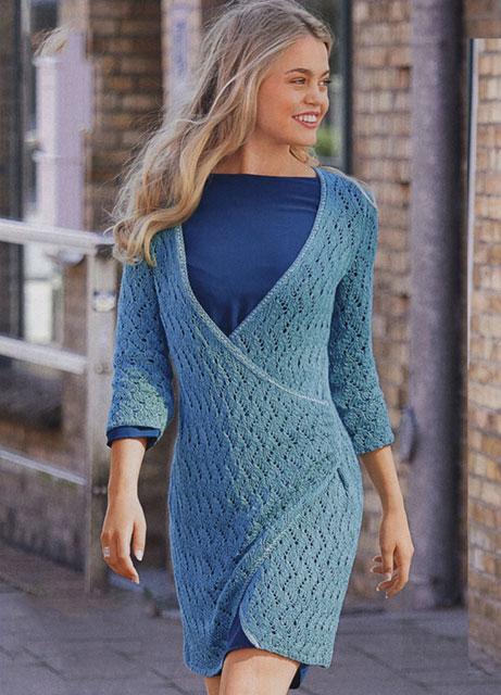 Ажурное платье с глубоким v-образным вырезом спереди с запахом и боковой драпировкой из смесовой пряжи