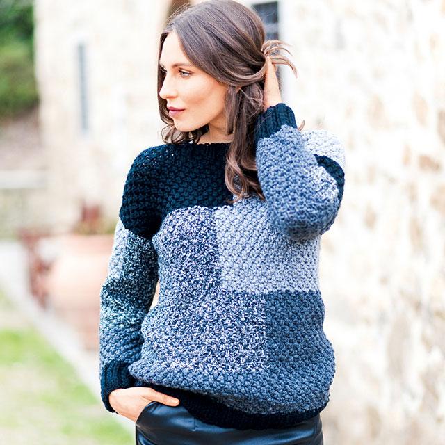 Пуловер в стиле пэчворк жемчужным узором