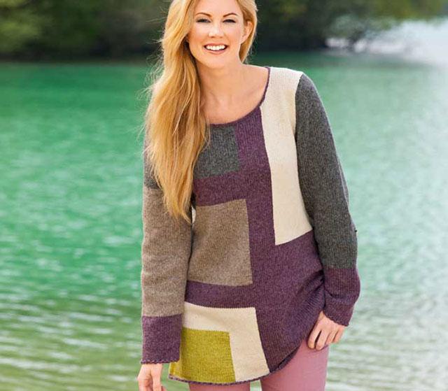 Шерстяной пуловер в стиле пэчворк