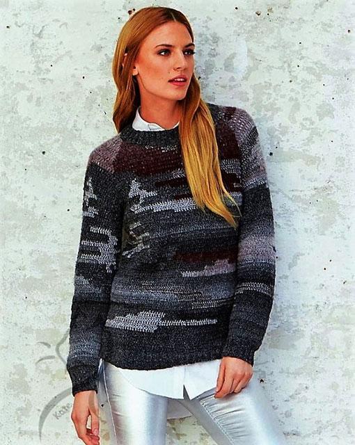 Пуловер в технике интарсии из вискозы и шерсти