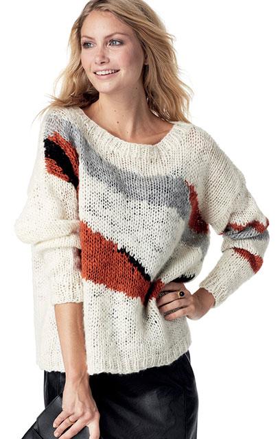 Пуловер с абстрактным узором в технике интарсия