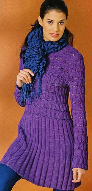 Фиолетовая платье-туника с длинным рукавом