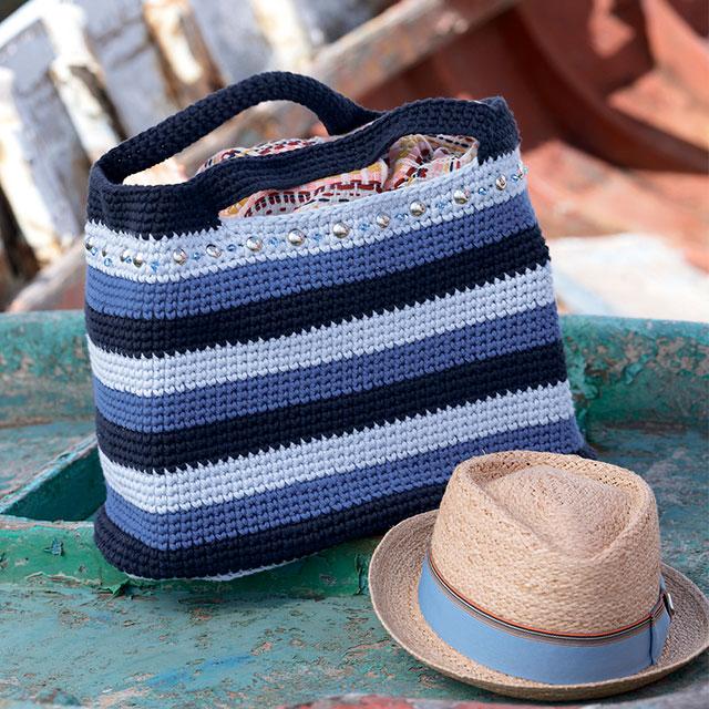 Большая и практичная сумка-шоппер в полоску на каждый день