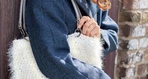 Сумка-шоппер с эффектом плюша из ленточной пряжи – ультрамодная фактура