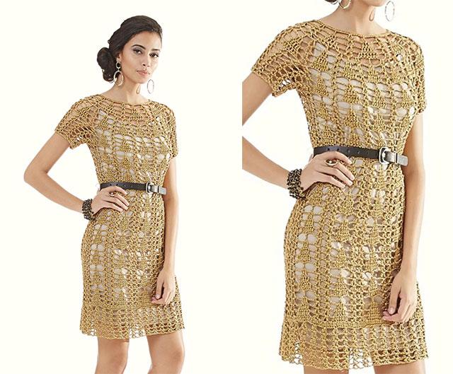Золотое платье с круглой горловиной узором Елочка