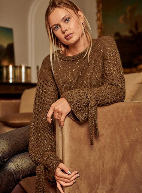 Пуловер с удлиненными рукавами из пряжи с люрексом
