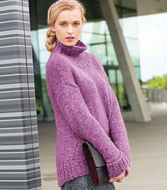 Просторный свитер с удлиненной спинкой