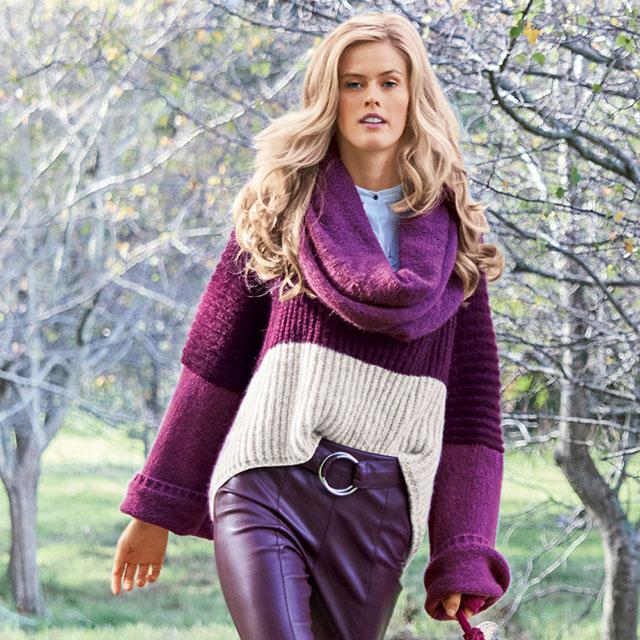 Объемный свитер с удлиненной спинкой из шерсти альпака
