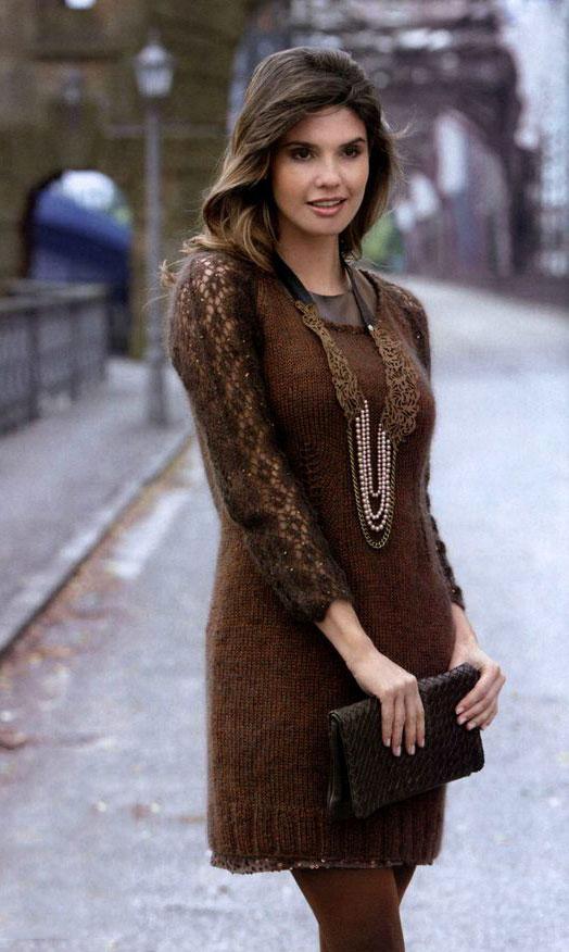 Платье реглан из мохера с шелком коричневого цвета