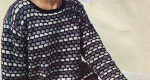 Пуловер узором разноцветные соты из овечьей шерсти и вискозы