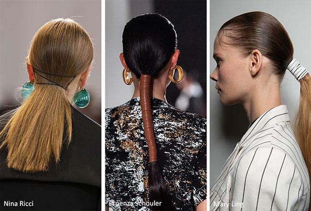 Завернутые хвосты и резинки для волос