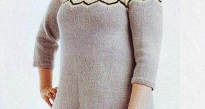 Жаккардовая кокетка на шерстяном платье для пышных дам