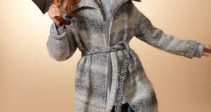 Серое пальто из меланжевой пряжи