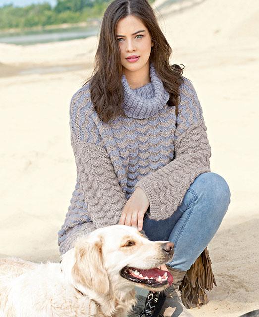 Двухцветный пуловер оверсайз со структурным узором из чистой шерсти альпака