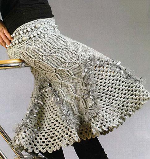 Женская юбка годе спицами с ажурными вставками-клиньями крючком