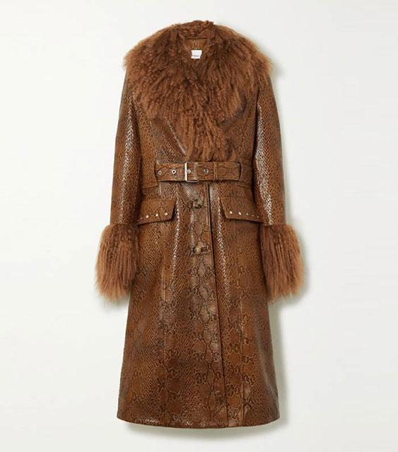 Burberry кожаное пальто с отделкой из овечьей шерсти