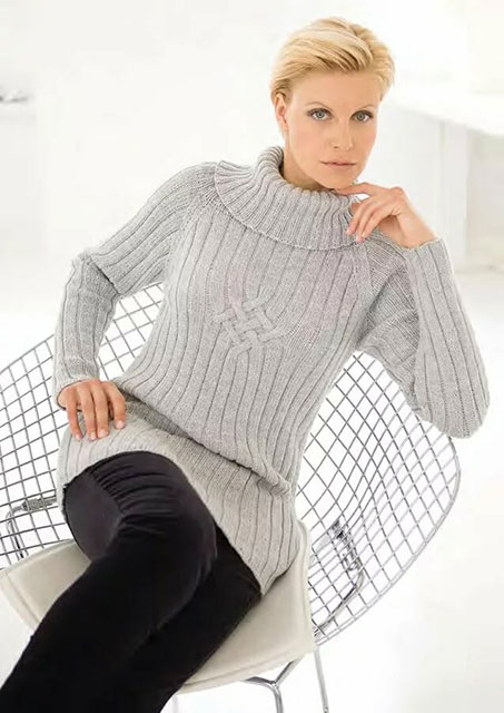 Элегантный свитер реглан удлиненный