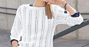 Узор ажурные дорожки из кос на джемпере белого цвета