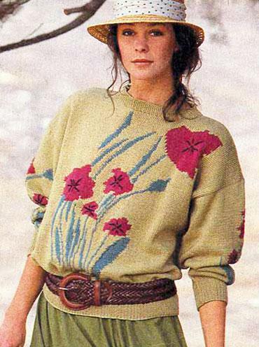 Женский пуловер с рисованными маками жаккардовым вязанием