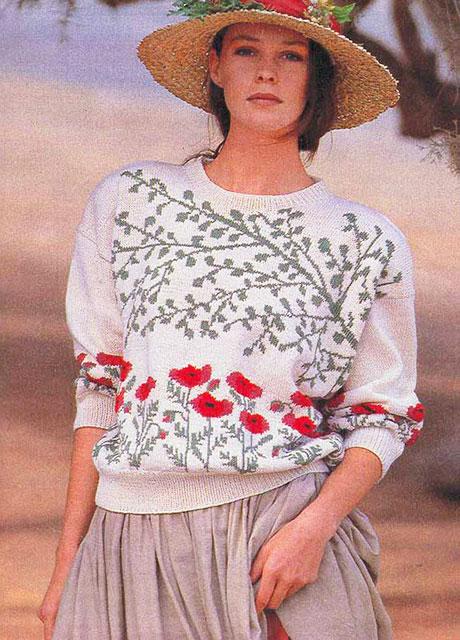 Пуловер с орнаментом Полевые маки под ветками деревьев