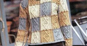 Узор с аранами на пуловере в стиле пэчворк