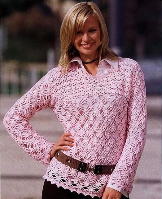 Ажурный пуловер из хлопка розового цвета