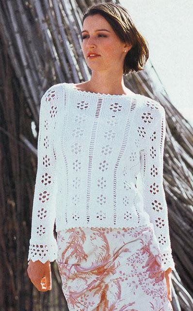 Ажурный пуловер с планками на рукавах белого цвета