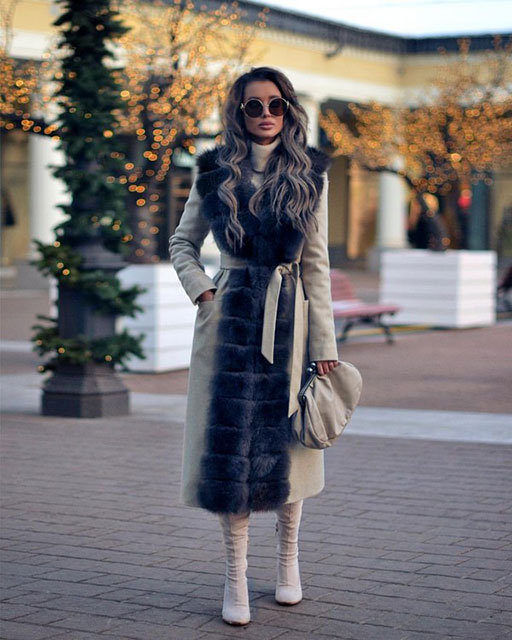 Модное пальто с мехом для женщин