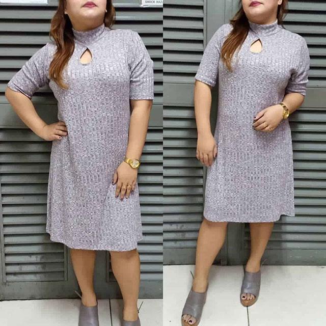Модные трикотажные и вязаные платья на полных