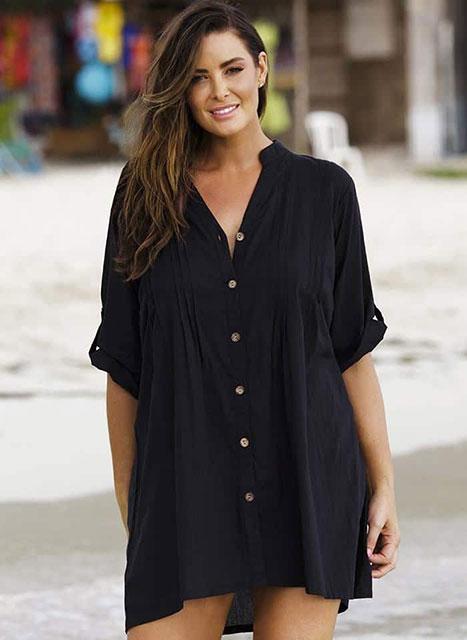 Модное платье-рубашка для пышных дам