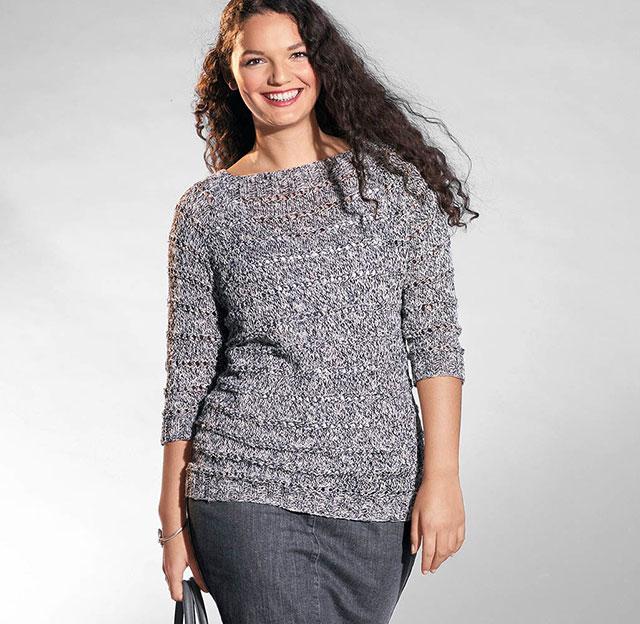 Пуловер реглан для полных из меланжевой пряжи