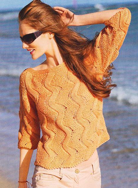 Пуловер с объемными зигзагами оранжевого цвета