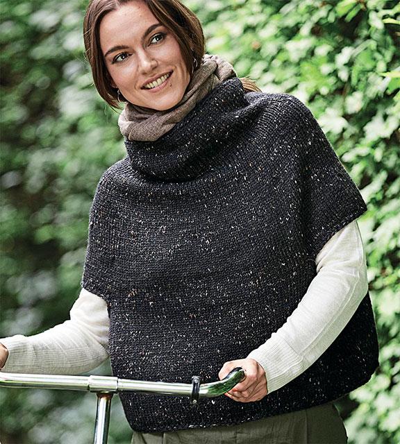 Свитер-пончо для женщин с короткими рукавами объемного фасона из твидовой пряжи