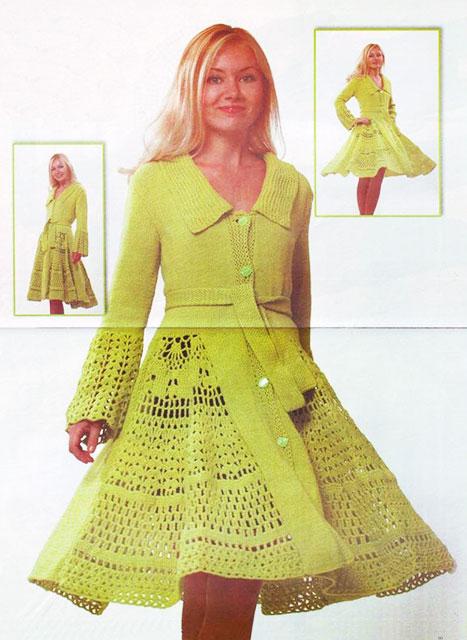 Салатовое пальто с эффектом юбки-клеш