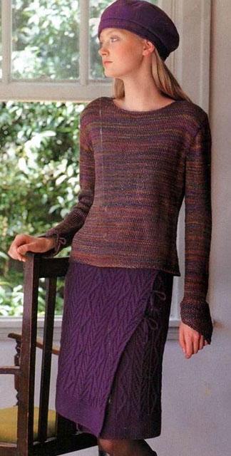 Фиолетовая юбка с запахом на завязках