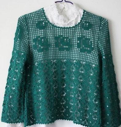 Джемпер зеленым цветом