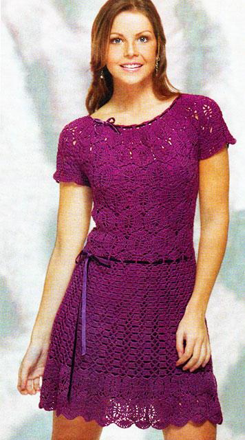 Кружевное платье фиолетового цвета