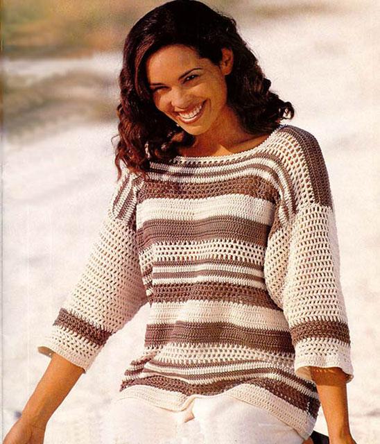 Пуловер в полоску филейкой