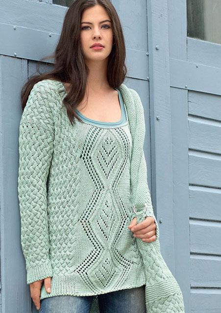 Сумка и удлиненный пуловер мятного цвета