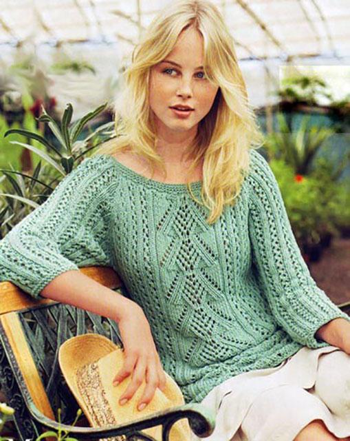 Пуловер с резными узорами рукавом реглан