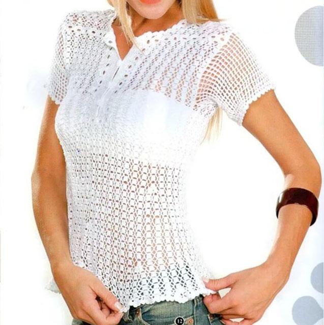 Рубашка-поло или блуза крючком