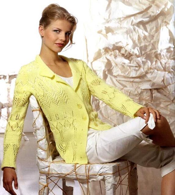 Бледно-желтый жакет на пуговицах для женщин
