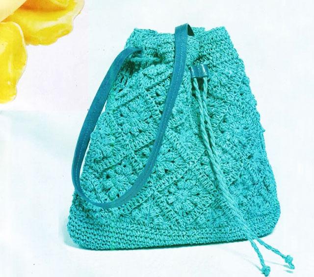 Сумка-торба бирюзового цвета из мотивов