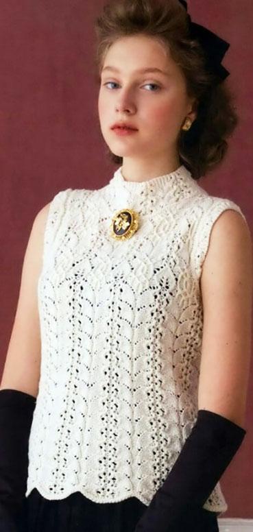 Белый топ в винтажном стиле