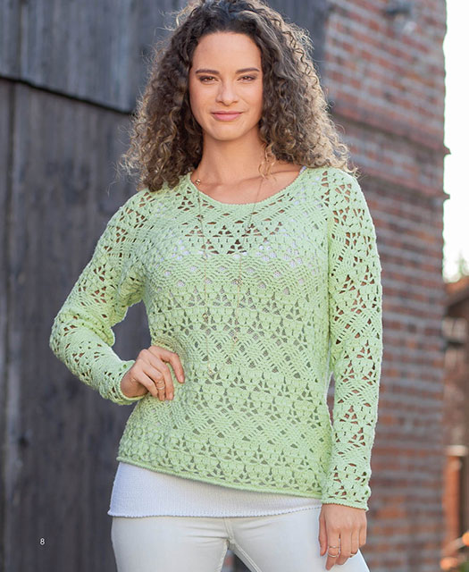Интересные узоры на связанном пуловере