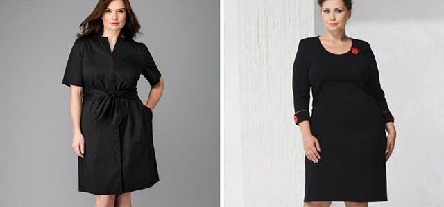 Гладкая темная ткань на платье для полных