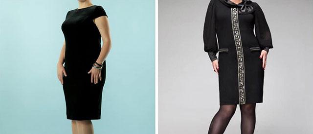 Черный цвет платья хорошо смотрится благодаря своим свойствам, которые зрительно уменьшают фигуру